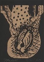 2005 Kleidfigur signiert Klaus Hack farbiger Holzschnitt